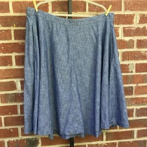 Lane Bryant Chambray Midi Skirt Size 22 Blue